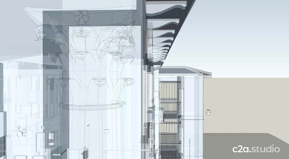 Column and soffit details with exterior elevator shaft.