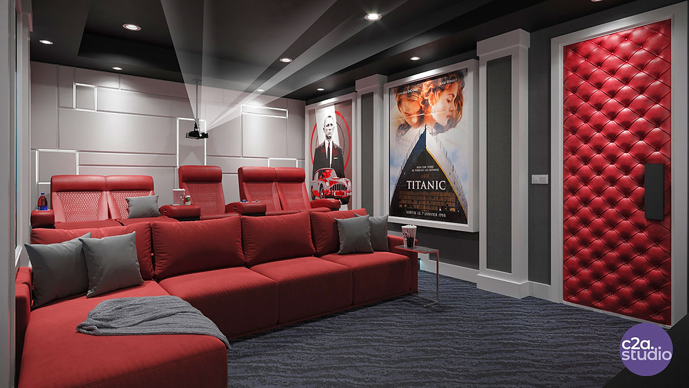 3d Rendering of Home Theater