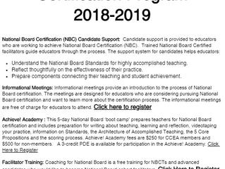 CCEA's National Board Certification Program 2018-2019