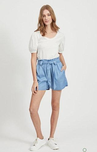Villa denim paper bag shorts