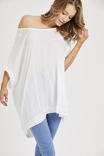 Sequin Detail Oversized Top - White