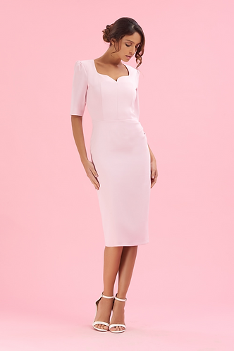 Charlotte Mid Sleeve Pencil Dress - Pink