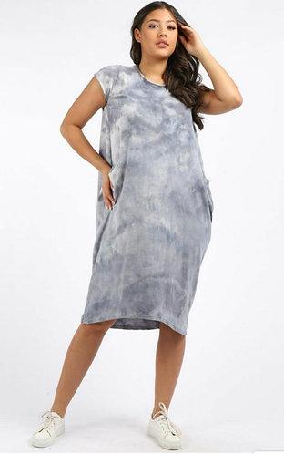Tie dye pocket dress - grey or blue