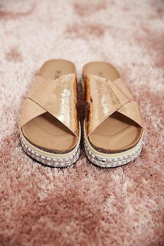 Rose Gold Sliders with studded platform