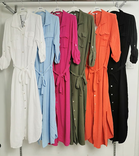 Cheesecloth maxi shirt dress - Choice of colours