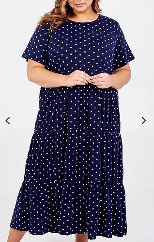 Spot tiered smock dress - Navy