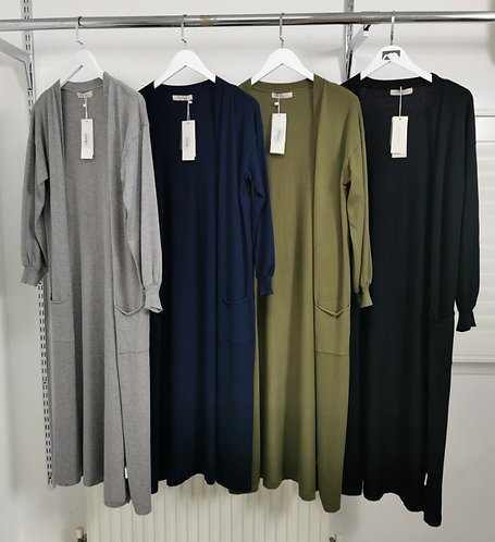 Long soft knit cardigan - Pink, khaki or black