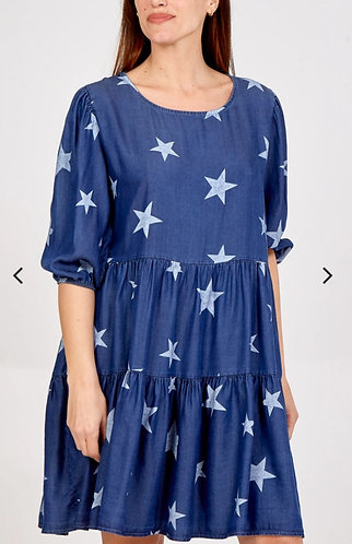 Denim star smock dress - Dark