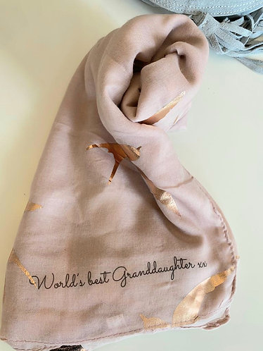 Worlds Best Granddaughter scarf -  with foil swallows
