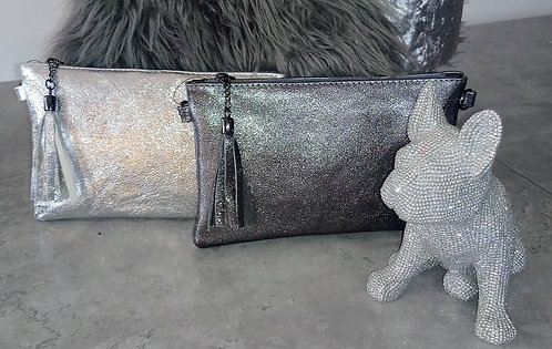 Leather metallic clutch bag