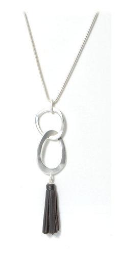 Hoop & Tassle necklace- grey