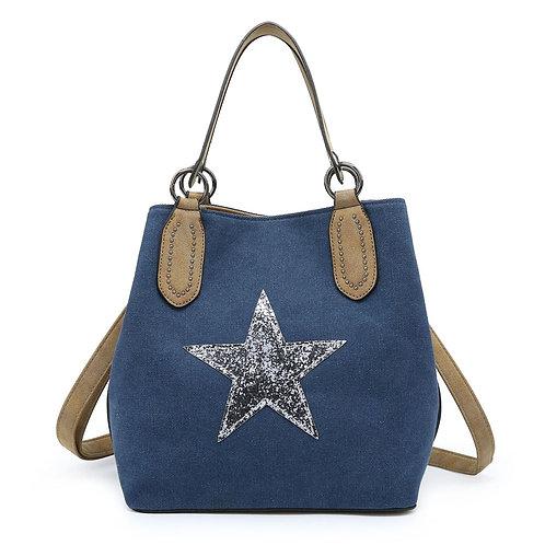 Medium Star Tote Bag - Navy/Silver Star