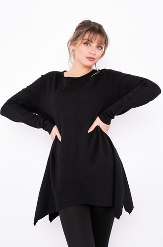 Jumper with dipped hem - Black