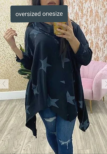 Oversized asymmetric hem star top - choice of colours