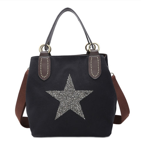 Crystal encrusted medium star bag- black