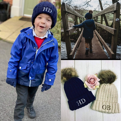 Children's personalised bobble hat - choice of colours