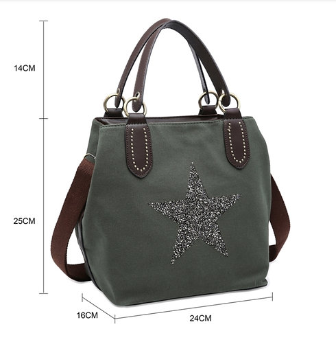 Crystal encrusted medium star bag - green