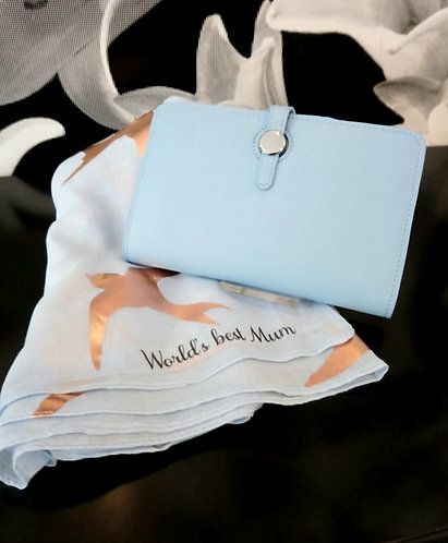 Mum purse & message scarf combo gift - Blue