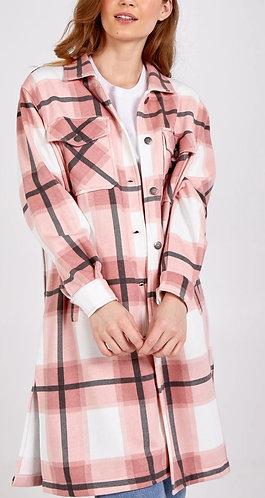 Long check Shacket - Pink