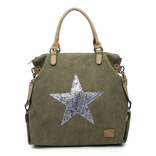Large Glitter Star Bag - khaki/Silver Star