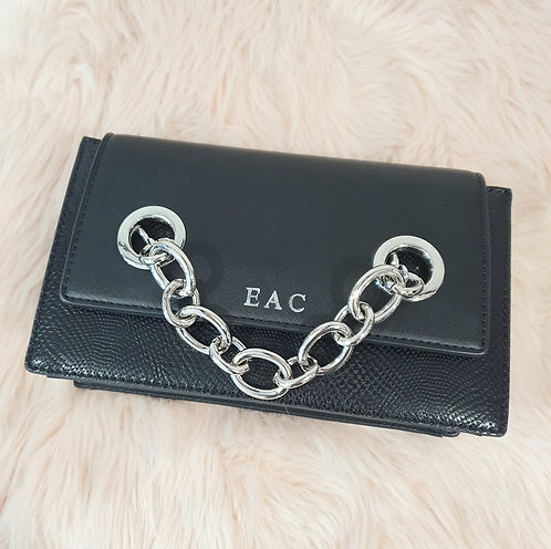Black snake effect chain detail handbag - free personalisation