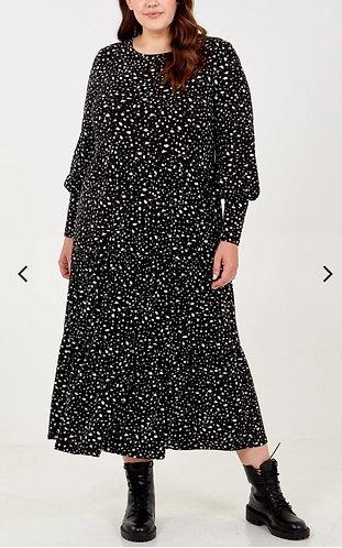 Long sleeved smock dress - black