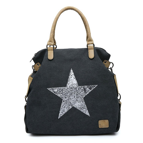 Large Glitter Star Bag -Charcoal/Silver Star