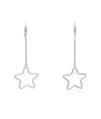Star drop earings - silver