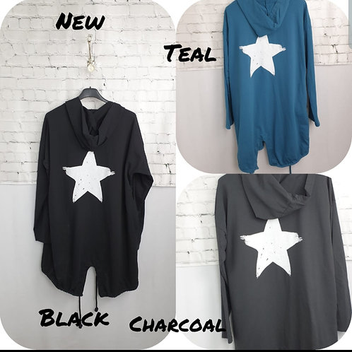 Star back hooded jacket - various colours