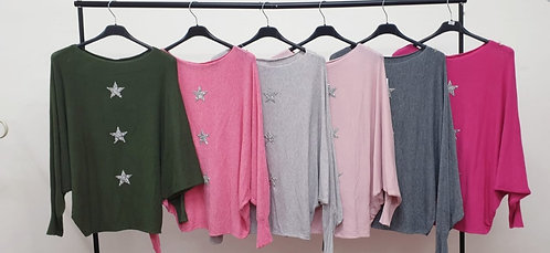 3 star batwing jumper - choice of colours