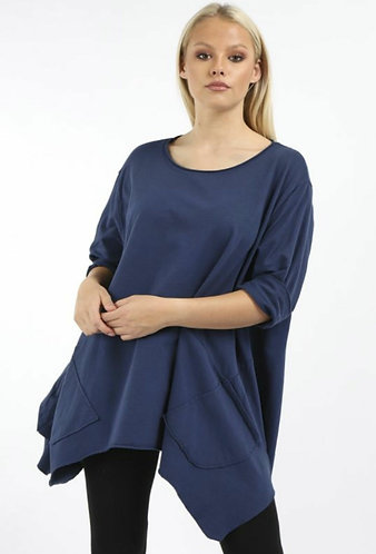 Dipped hem cotton pocket top - Choice of colours