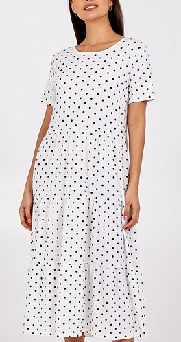 Spot tiered smock dress - white