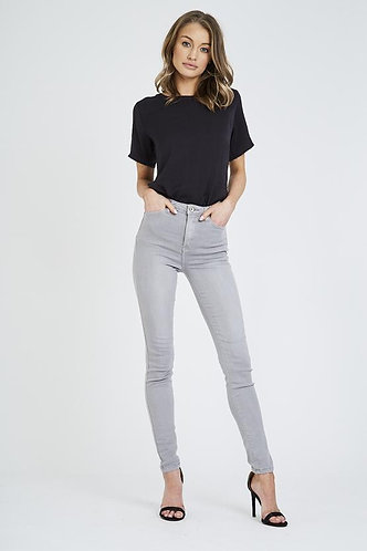Super Stretch High Waisted Jeans - Light Grey