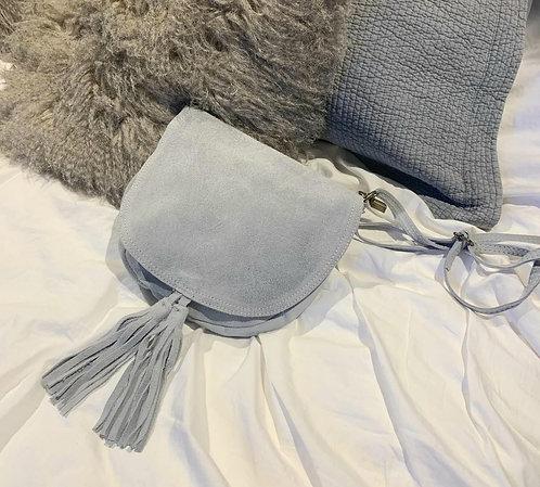 Suede tassle messenger bag - grey