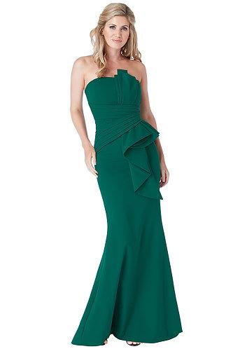 Fan Pleat Boob Tube Maxi Dress - Emerald Green