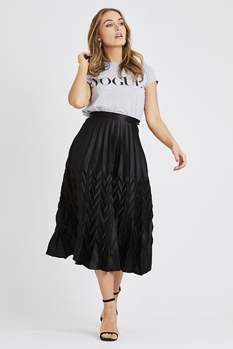 Tia Pleated Skirt - Black