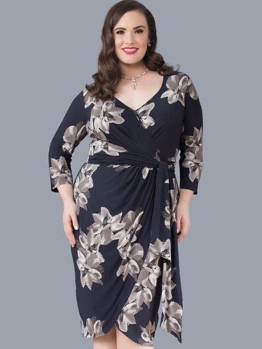 Wrap Dress - Blue & Grey