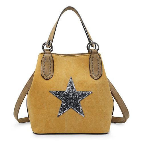 Medium Star Tote Bag -Mustard/Silver Star