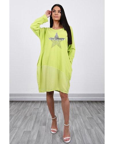 Star Sweatshirt Dress- lime
