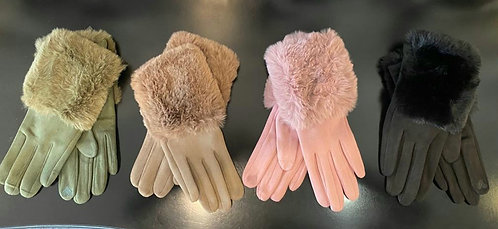 Faux fur cuff gloves - choice of colours