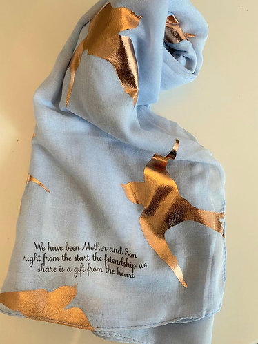 Mother / son scarf - blue with foil swallows