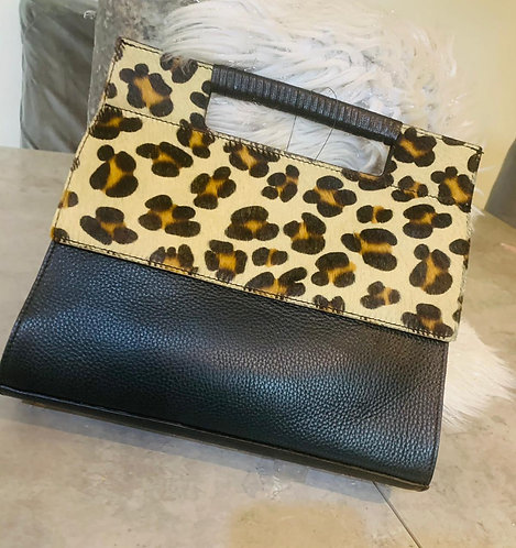 Leather & cow hide  leopard print bag