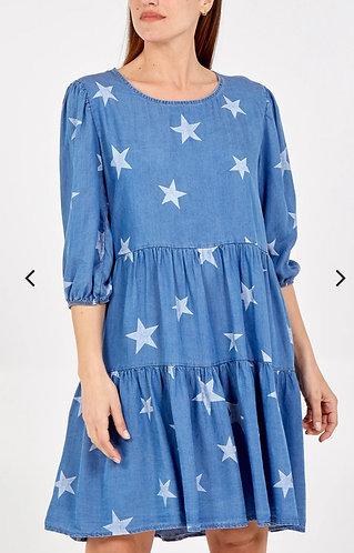 Denim star smock dress - medium