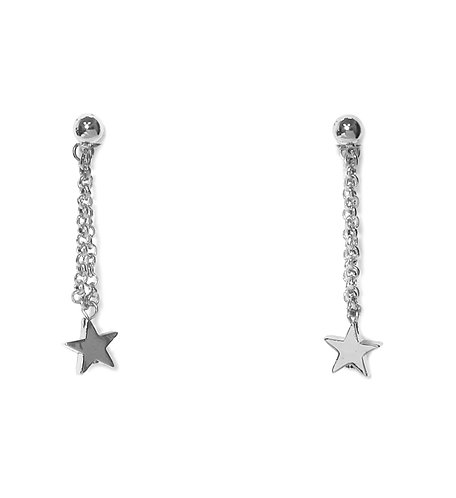 Star chain drop earings - silver