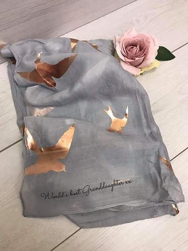 Worlds Best Granddaughter scarf - grey with foil swallows