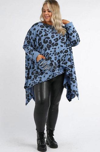 Animal print sequin pocket top - Blue or Pink