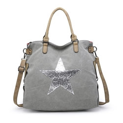 Large Glitter Star Bag - Pale Grey /Silver Star