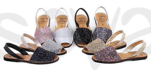 Glitter Menorcan Sandals - Gold Glitter