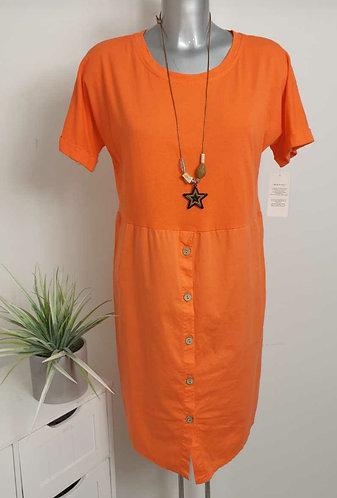Plain button front dress - choice of colours