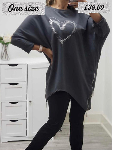 Oversized sequin heart top - choice of colours